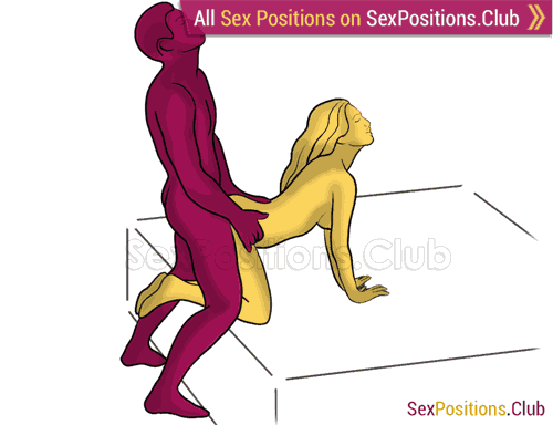 Sex position #280 - Doggy on the edge. (anal sex, doggy style, from behind, rear entry, standing). Kamasutra - Photo, picture, image