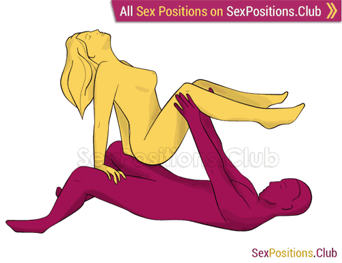 Sex position #310 - Swing - 2. (anal sex, cowgirl, woman on top, right angle). Kamasutra - Photo, picture, image