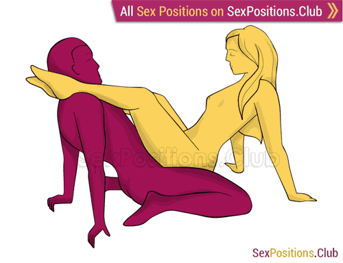 Sex position #248 - Legs on shoulders. (face to face, right angle, sitting). Kamasutra - Photo, picture, image