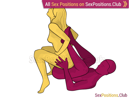 Sex position #298 - Vulgar chair. (cowgirl, woman on top, from behind, reverse). Kamasutra - Photo, picture, image